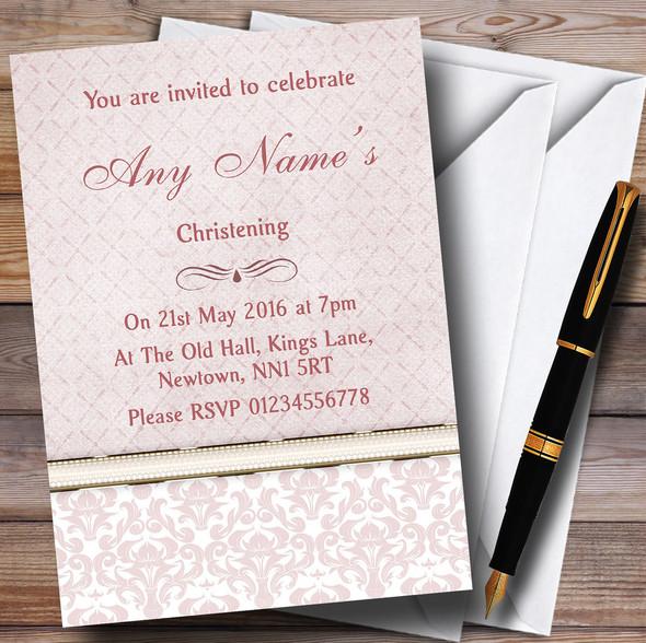 Dusky Rose Pink Damask Vintage Pearl Personalised Christening Invitations