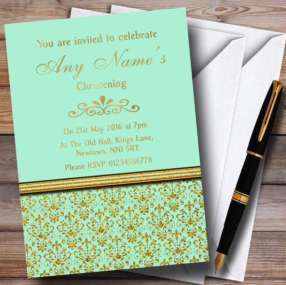 Mint Green & Gold Vintage Damask Personalised Christening Invitations