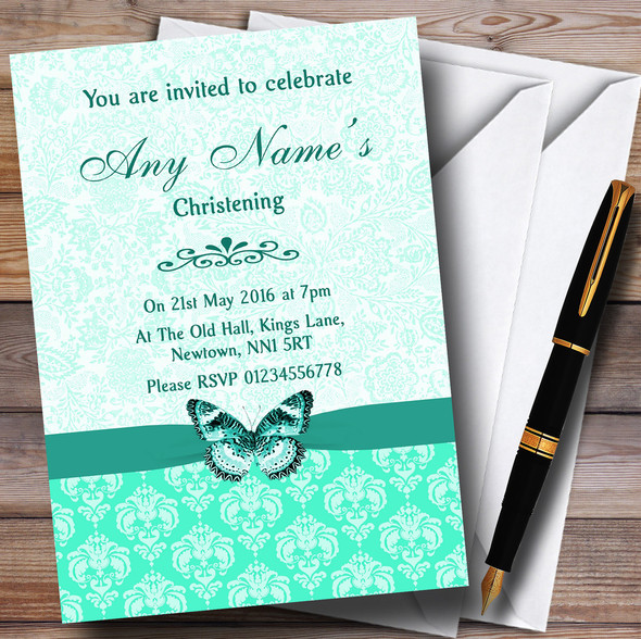 Mint Green Vintage Floral Damask Butterfly Personalised Christening Invitations