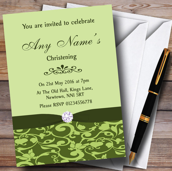 Olive Green Vintage Floral Damask Diamante Personalised Christening Invitations