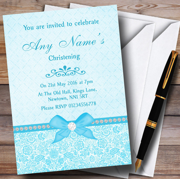 Pretty Floral Vintage Bow & Diamante Aqua Sky Blue Personalised Christening Invitations