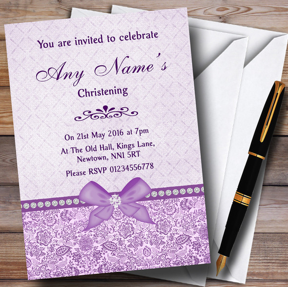 Pretty Floral Vintage Bow & Diamante Lilac Personalised Christening Invitations