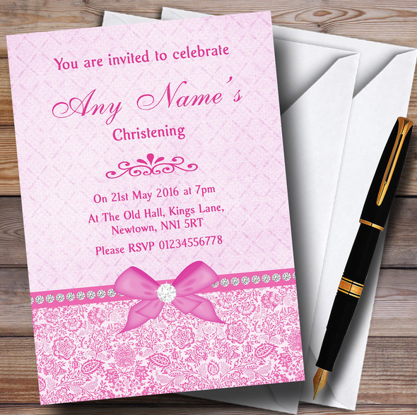 Pretty Floral Vintage Bow & Diamante Pink Personalised Christening Invitations