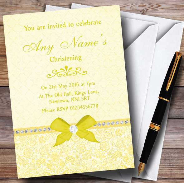 Pretty Floral Vintage Bow & Diamante Yellow Personalised Christening Invitations