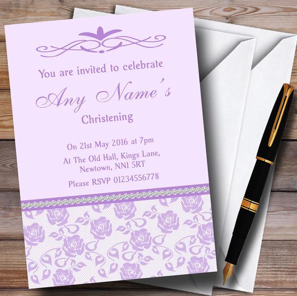 Pretty Lilac Purple Floral Diamante Personalised Christening Invitations