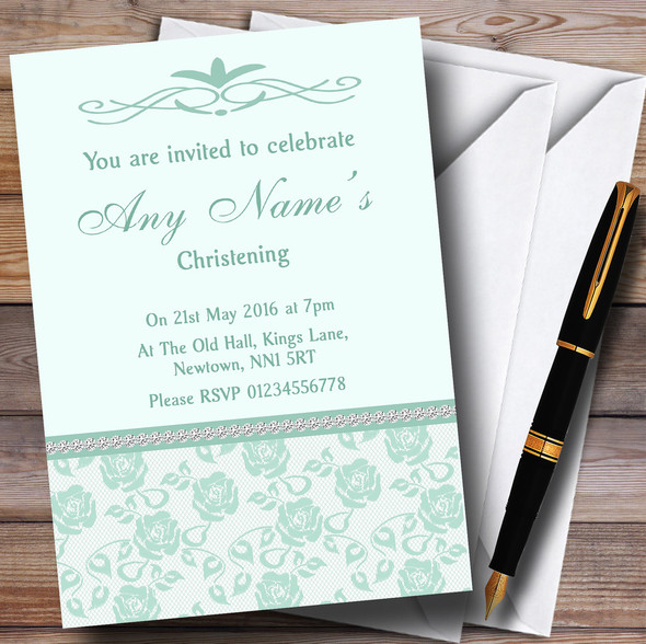 Pretty Mint Green & Sage Floral Diamante Personalised Christening Invitations