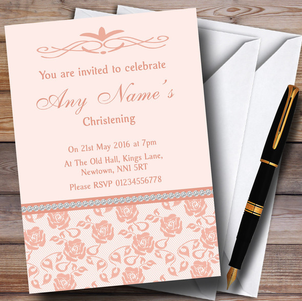 Pretty Pale Coral Floral Diamante Personalised Christening Invitations