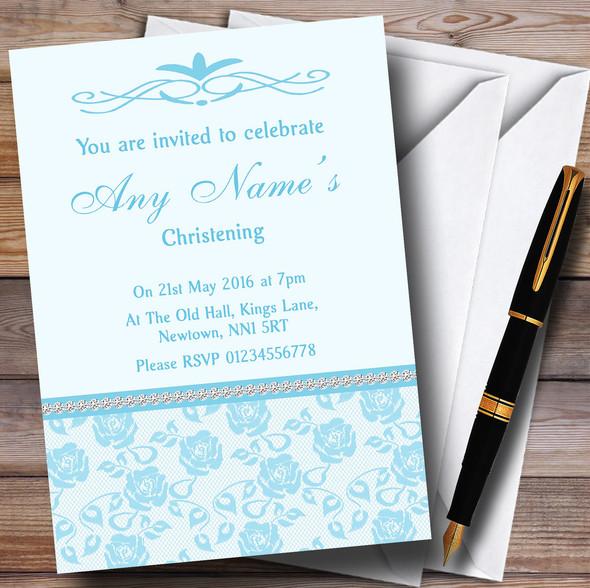 Pretty Sky Blue Floral Diamante Personalised Christening Invitations