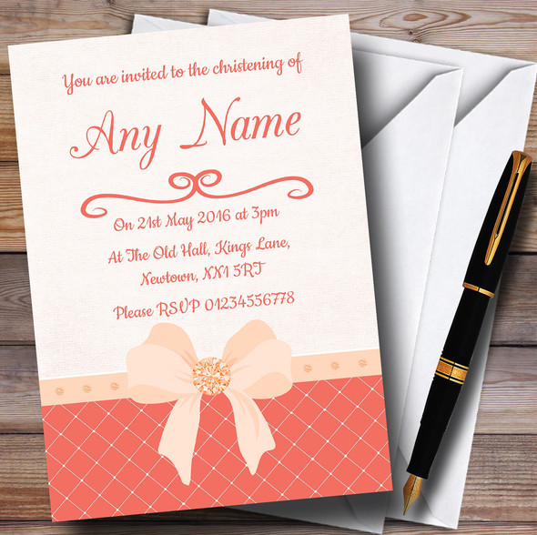 Quilted Look Coral Bow Personalised Christening Invitations