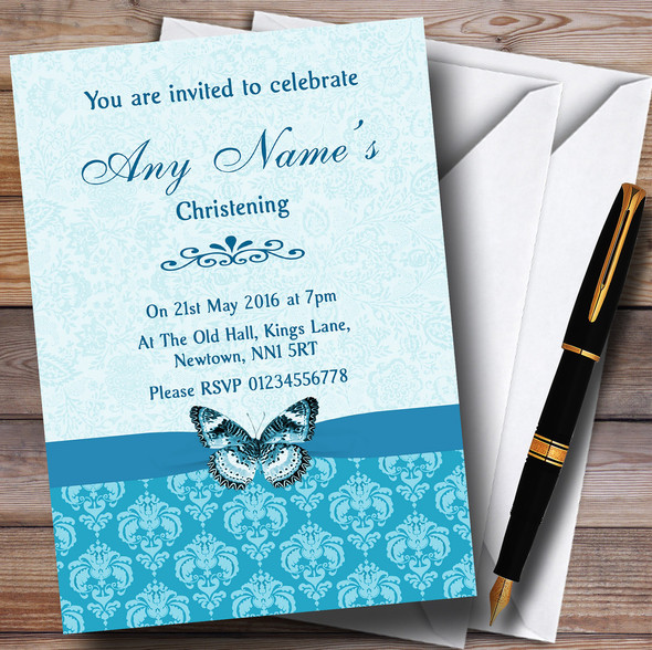 Tiffany Blue Turquoise Vintage Floral Damask Butterfly Personalised Christening Invitations