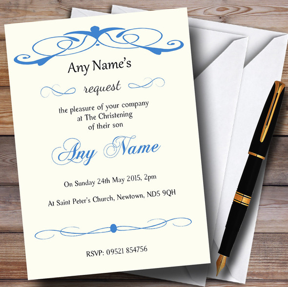 Elegant Blue Swirl Christening Party Personalised Invitations