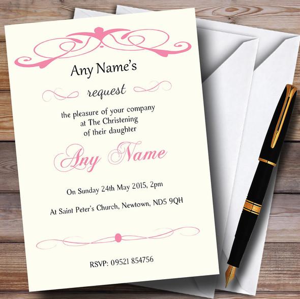 Elegant Pink Swirl Christening Party Personalised Invitations