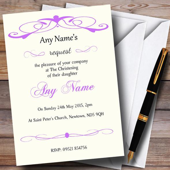 Elegant Purple Swirl Christening Party Personalised Invitations