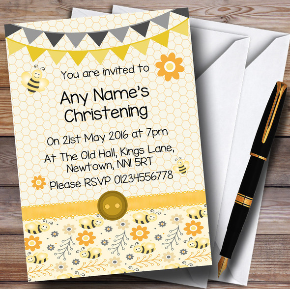 Yellow And Black Cute Bumble Bee Honeycomb Christening Party Personalised Invitations