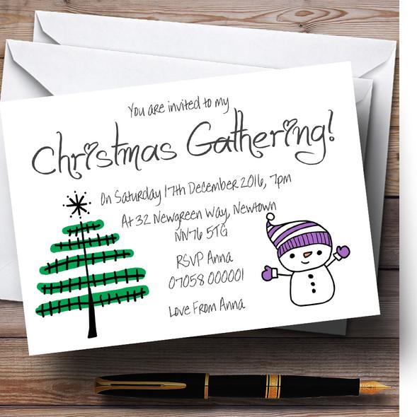 Snowman & Xmas Tree Personalised Christmas Party Invitations