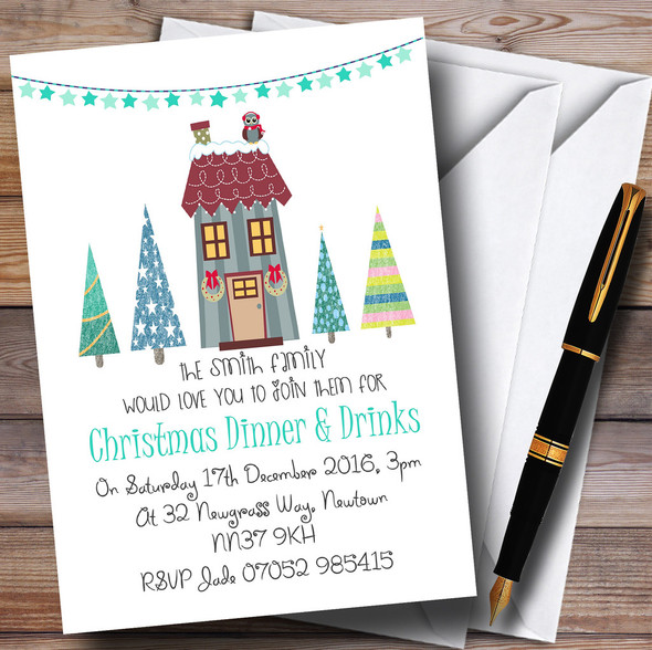Xmas Dinner & Drinks Personalised Christmas Party Invitations