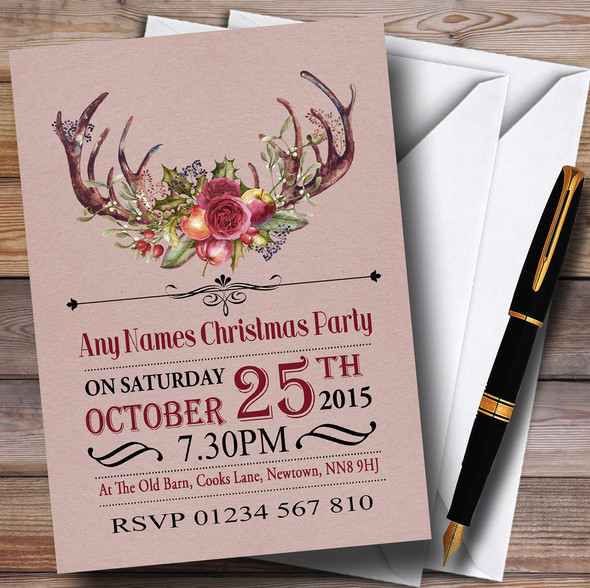 Christmas Rustic Antlers Personalised Christmas Party Invitations