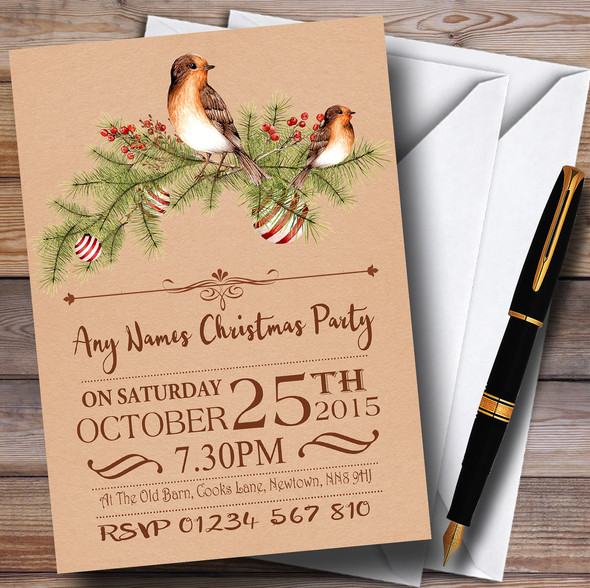 Christmas Rustic Robin Personalised Christmas Party Invitations
