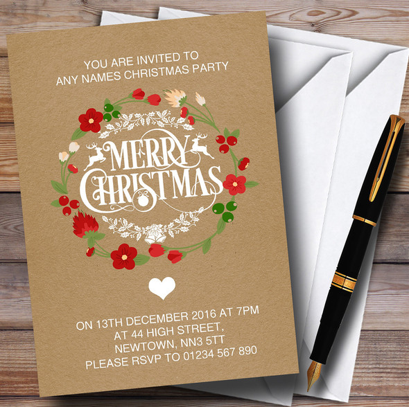 Crafty Merry Xmas Personalised Christmas Party Invitations