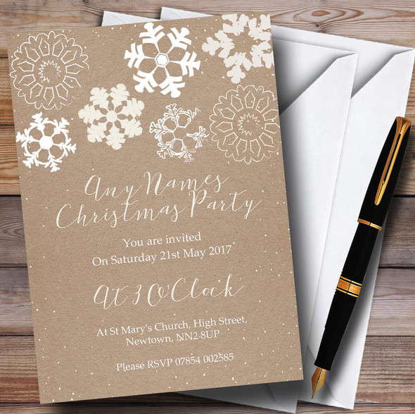 Crafty Snowflakes Personalised Christmas Party Invitations