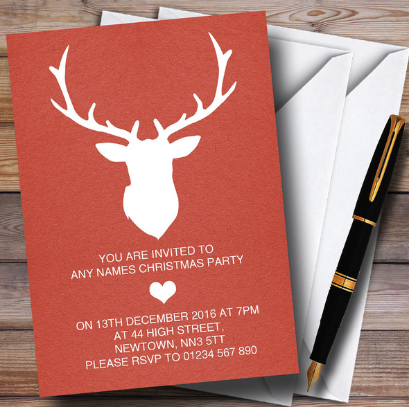 Red Stag Personalised Christmas Party Invitations
