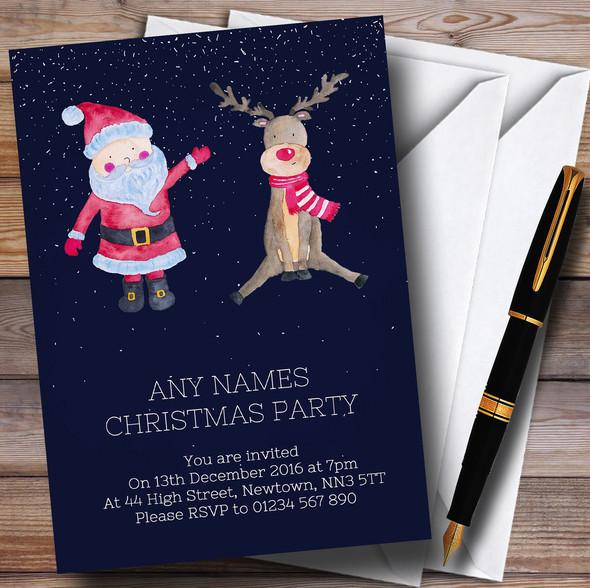 Santa & Reindeer Personalised Christmas Party Invitations