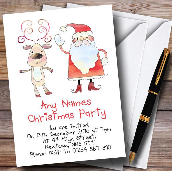Santa & Rudolph Personalised Christmas Party Invitations