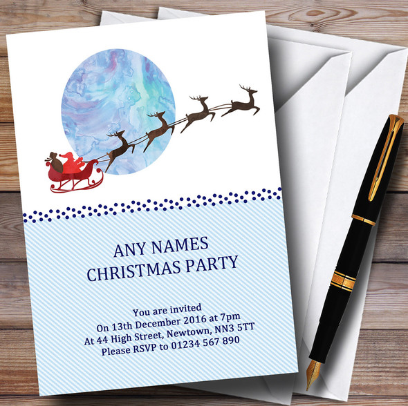 Santa In Sleigh Personalised Christmas Party Invitations