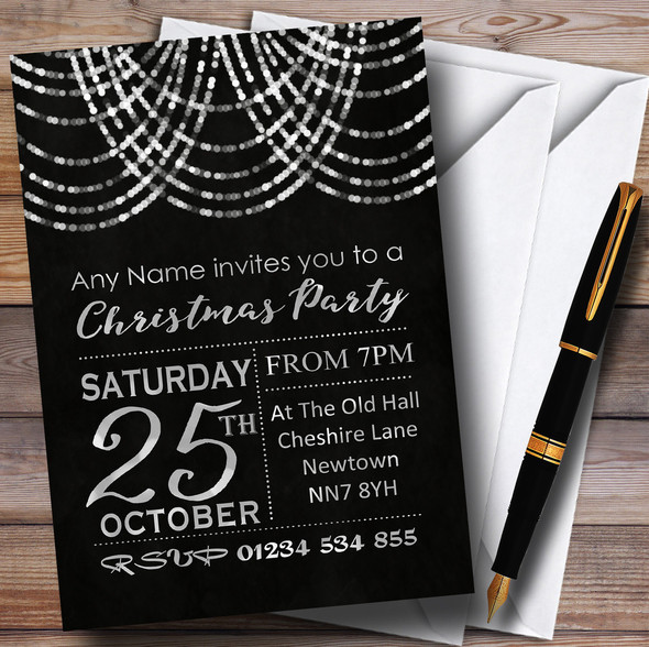 Silver Drape Lights Personalised Christmas Party Invitations