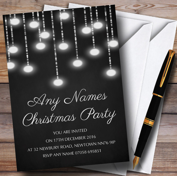 Silver Lights Chalk Effect Personalised Christmas Party Invitations