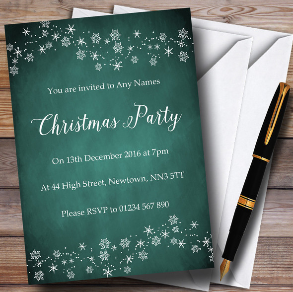Teal Green Snowflake Design Personalised Christmas Party Invitations