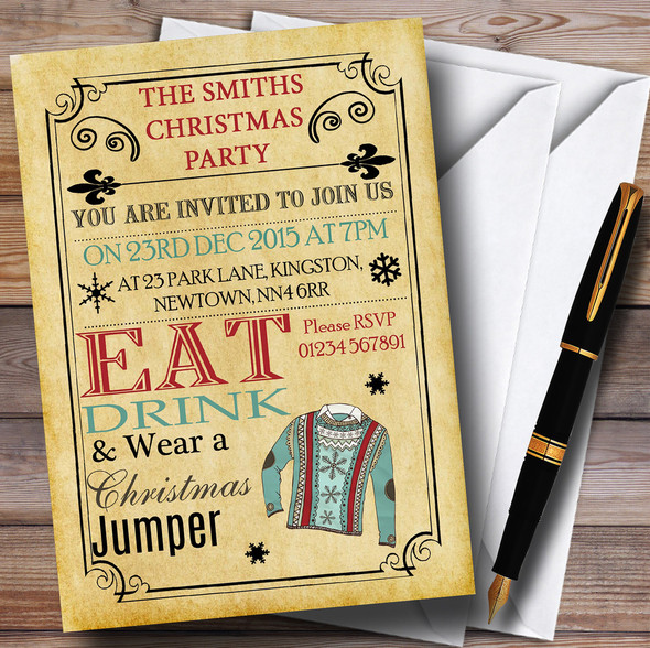 Vintage Style Christmas Jumper Personalised Christmas Party Invitations