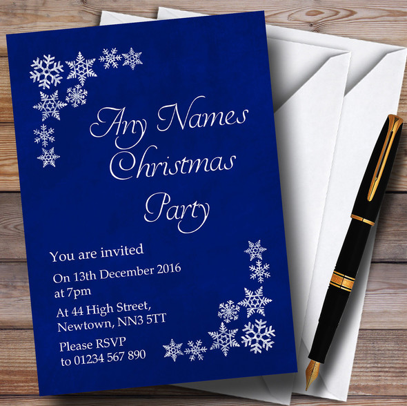 White Snowflake & Blue Personalised Christmas Party Invitations