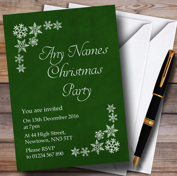 White Snowflake & Green Personalised Christmas Party Invitations