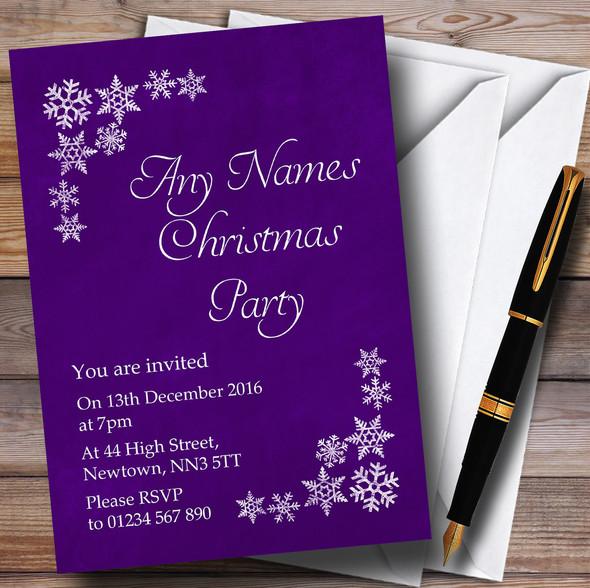 White Snowflake & Purple Personalised Christmas Party Invitations