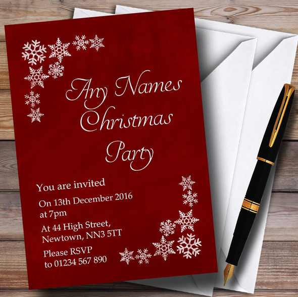 White Snowflake & Red Personalised Christmas Party Invitations