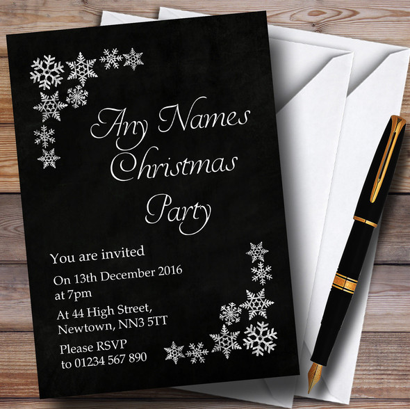 White Snowflake Chalk Effect Personalised Christmas Party Invitations