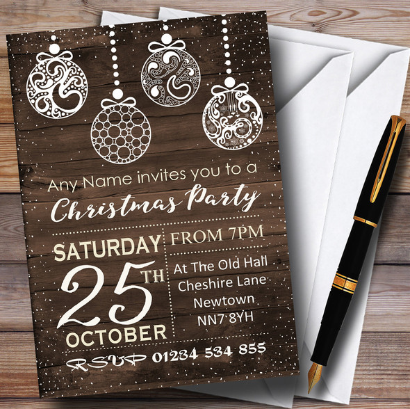 Wood Effect Baubles Personalised Christmas Party Invitations