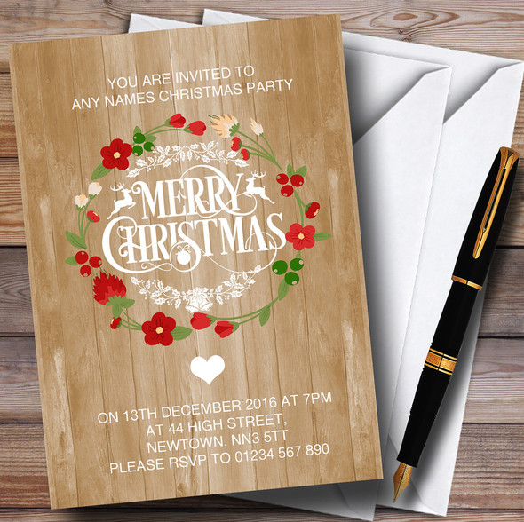 Wood Effect Merry Xmas Personalised Christmas Party Invitations