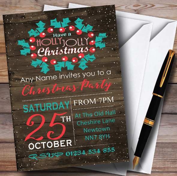 Wood Effect Rustic Jolly Personalised Christmas Party Invitations