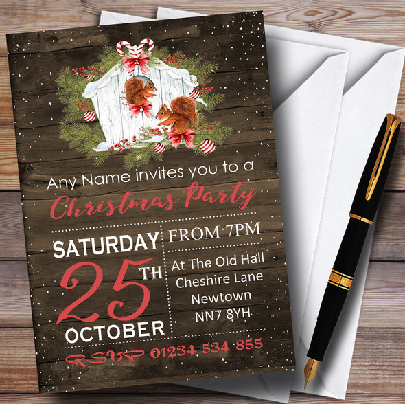 Wood Effect Rustic Squirrels Personalised Christmas Party Invitations