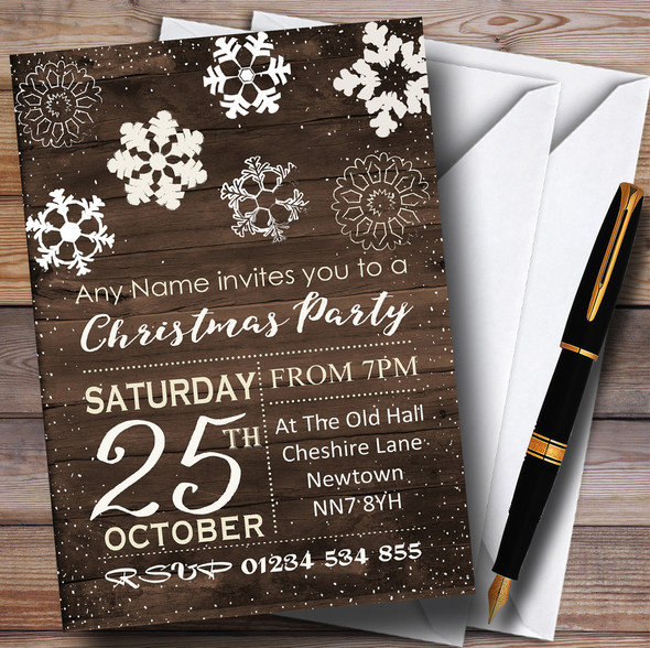 Wood Effect Snowflakes Personalised Christmas Party Invitations