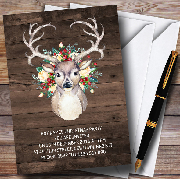Wood Effect Vintage Stag Personalised Christmas Party Invitations
