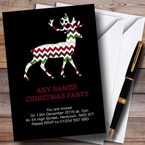Xmas Reindeer Black Personalised Christmas Party Invitations
