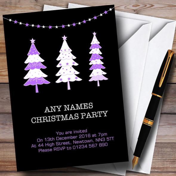 Xmas Trees Black & Purple Personalised Christmas Party Invitations