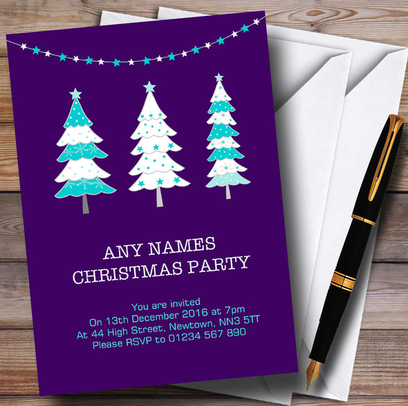 Xmas Trees Purple Personalised Christmas Party Invitations