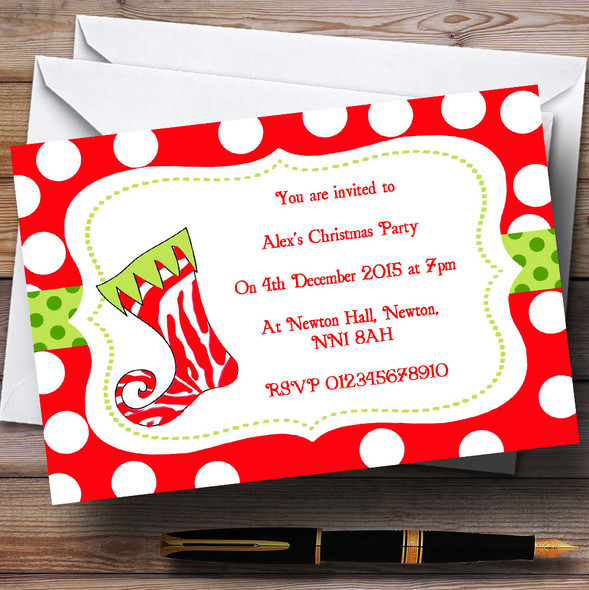 Funky Stocking Personalised Christmas Party Invitations