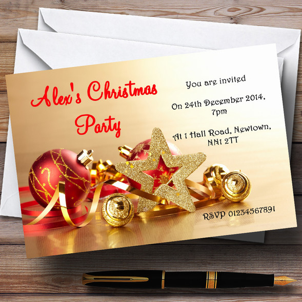 Gold And Red Baubles Personalised Christmas Party Invitations