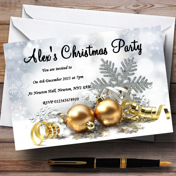 Gold Baubles Personalised Christmas Party Invitations
