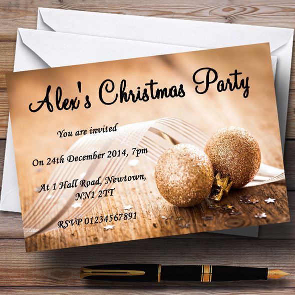 Gold Glitter Ball Personalised Christmas Party Invitations